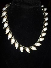 Lisner Statement Necklace Rhinestone Crystal Vintage Antique Pearl Wedding CHIC
