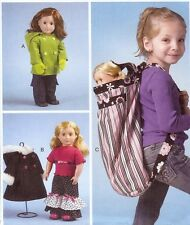 PATTERN to sew clothes for 18in AG doll McCalls 6854 Backpack CarryAll coat hood