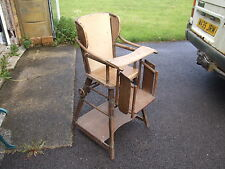 Antique Illustrated Metamorphic childs High Chair / desk