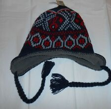 Outdoor Life Mens Sherpa Lined Knit Winter Hat Black Gray & Red One Size NWT
