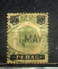 "FMS Malaya Malaysia Perak 1895-99 Old ""Tiger"" Stamps 50c green & black CV Rm640"