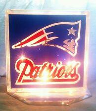 Lighted New England Patriots Glass Block Light~ Home Decor~Gift~Lamp