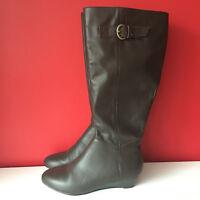 Brown Leather Small Wedge Heel Side Zip Comfort Knee High Boots UK 4 EU37 BNWOB