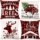 Christmas Pillow Covers 18x18 Christmas Decorations Black and Red Buffalo Plaid