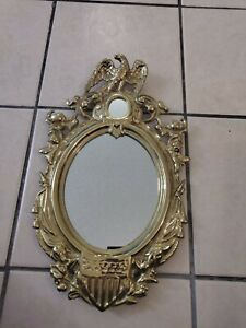 VINTAGE REPRO OF JAMES MADISON'S SAND CAST BRASS FEDERAL EAGLE & SHIELD MIRROR