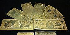 Gold Detail U.S Banknote Memorabilia Set$1-$1B Free S&H~