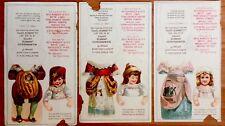 3 Antique VICTORIAN ADVERTISING PAPER DOLLS Mother Goose ~ Uncut Lot! #2
