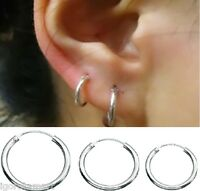 Men Women Sterling Silver Plated Dangle Hinge Hoop Sleeper Earrings Hoops Pair