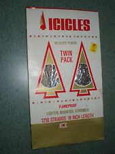 "Vintage 18"" Christmas Tree Silver Tinsel Icicles Fire Proof Metalized Plastic"