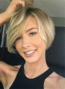 100% Human Hair Natural Short Straight Light Blond Fashio Women's Wig