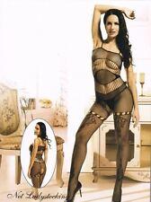 Bodystocking sexy donna catsuit aperta lingerie intimo Tuta nera