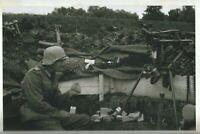 WW II German Photo --  Soldier With MG-42 Machine Gun    ...