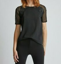 Dorothy Perkins Tall Black Lace Insert T-Shirt - Size UK18 , BNWT
