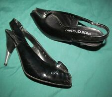 Charles Jourdan women's 8 M Black patent leather slingbacks Steel heels Quality