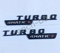 2 X TURBO 4MATIC+ Gloss Black BADGE Emblem FOR MERCEDES AMG