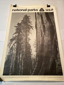 Original 1968 Ansel Adams National Parks Poster: Yosemite Giant Sequoias