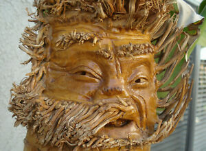 """Vintage, hand-carved, Chinese Bamboo root, folk-art, """"Friendly Face"""" sculpture"""