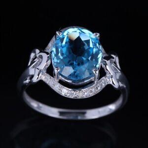 Silver 925 Oval Cut Blue Topaz Gorgeous Engagement Wedding Diamonds Ring