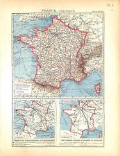 France Politique Lignes Aériennes PTT la Poste Téléphone MAP CARTE ATLAS 1937