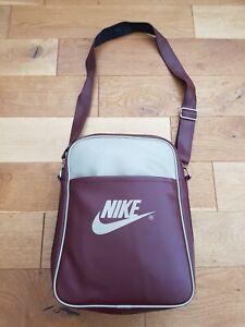 Nike Vintage/Retro Style Satchel Bag In Maroon/Cream