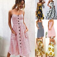 Womens Holiday Strappy Button Pocket Summer Beach Midi Swing Sun Dress Casual