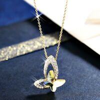 18K Gold Filled Made With Swarovski Crystal Citrine Purple Butterfly Necklace