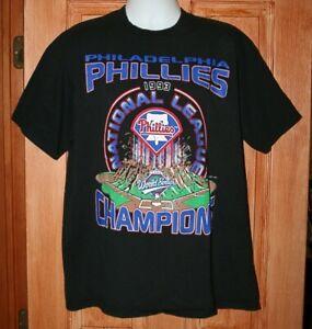 Vintage PHILADELPHIA PHILLIES 1993 CHAMPIONS STARTER DESIGN T-SHIRT XL USA Black