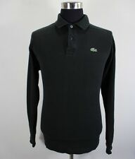 Men's LACOSTE Polo Shirt, Size 5, Black, Cotton, Long Sleeve #BL1775