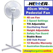 PEDESTAL FAN 40cm WHITE HELLER Adjustable Height 3 Speed Tilt Oscillating head
