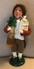 2003 Byers Choice Williamsburg Caroler - Boy with Birdcage, Plant+ - Gorgeous