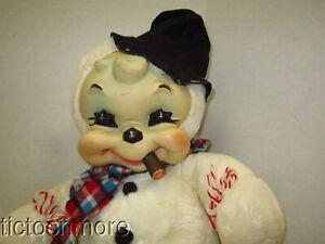"VINTAGE EARLY RUSHTON RUBBER FACE SMOKING HOBO SNOWMAN PLUSH STUFFED ANIMAL 20"""