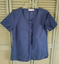 DENIM & CO. SOLID VOILE TOP w/EMBROIDERED EYELET BORDER   Small   NEW