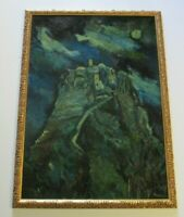 ASTORIO NIGHT PAINTING 1960'S MODERNISM EXPRESSIONISM MOON LIT LANDSCAPE RUINS