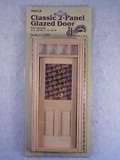 Dollhouse Miniature Houseworks Wood Transom 2 Panel Glazed Door 1:12 Kit # 6018