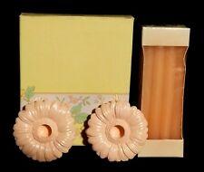 Vintage Avon Fancy Flower Pastel Pink Peach Easter Candle Holders Set - Nib