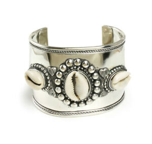 African Inspired Wide Band African Silver Cowrie Shell Bracelet For Prosperity