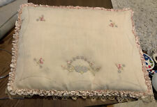 ANTIQUE VINTAGE Embroidery W/Lace BEIGE Boudier Pillow Beautiful!!