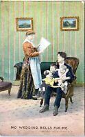1908 BAMFORTH No Wedding Bells for Me Man Crying Babies 1157 Comic Postcard JK