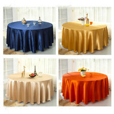 "120"" Round Satin Tablecloth Cover Banquet Wedding Party Restaurant Decoration"