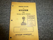 Hyster WRB Worm Drive Winch for Cat D4 Parts Catalog & Owner Operator Manual