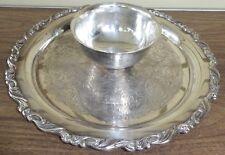 "Oneida Silverplate Georgian Scroll Chip & Dip Shrimp Bowl Serving Tray 12 1/2"""