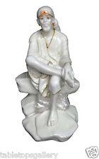 "18"" Indian Natural Marble Casting Shirdi Sai Baba Handmade Art Decor Gifts H1313"