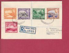 R* CYPRUS FDC KING GEORGE VI REGISTERED TO ENGLAND Mi nr. 136 - 141 RAR #72817
