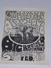 Jefferson Airplane & Big Brother at Fillmore Psychedelic Concert Poster Fd001