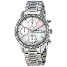 SEIKO DRESS CHRONOGRAPH DATE MOP DIAL CRYSTALS ST. STEEL LADIES WATCH SNDY21 NEW