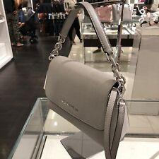 Michael Kors Sofia Small Leather Satchel Crossbody Bag Handbag Purse Pearl Grey