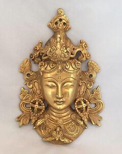 HEAVY 8.5'' TIBETAN BUDDHA FACE Tara Devi HEAD WALL Hanging BRASS Shamanism Gold