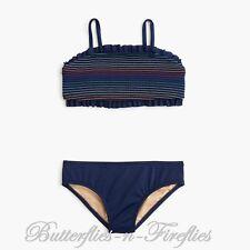 NWT J.CREW Crewcuts 2pc Set Navy Blue Rainbow Smocked Bikini Swimsuit Girls 8