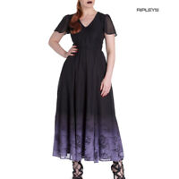 Hell Bunny Spin Doctor Goth Maxi Dress EVADINE Purple Black All Sizes