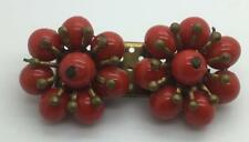 VINTAGE GOLDTONE BRIGHT RED TWO FLOWERS BEADED ON RECTANGULAR BAR BROOCH PIN